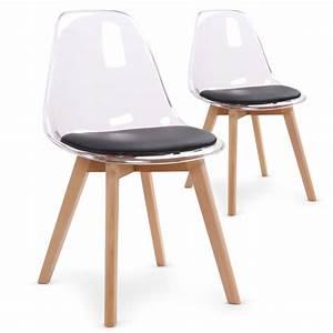 Chaises scandinaves plexi noir lot de 2 pas cher for Deco cuisine avec chaise bois blanc pas cher