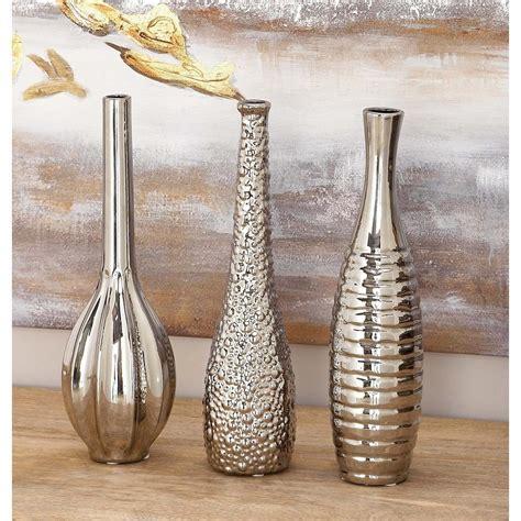 Decorative Vases by Ceramic Bottle Shaped Decorative Vases In Silver Set Of 3