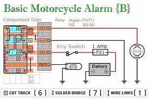 Two Simple Relay Based Motorcycle Alarms Circuit Diagram