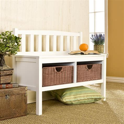 White Entry Way Bench - sei white bench with two brown rattan baskets