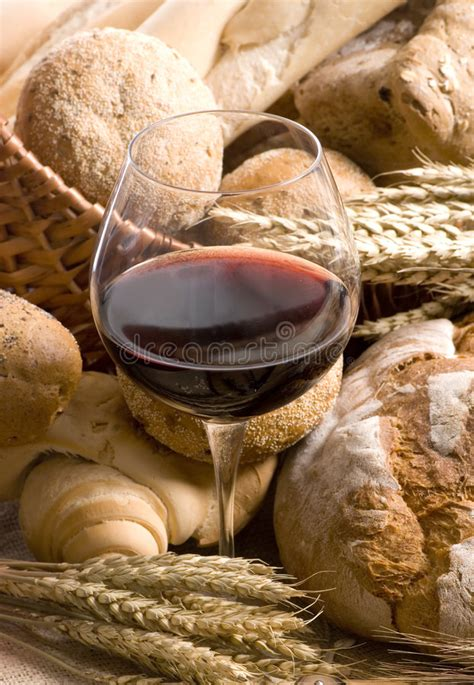 Many kinds of fruit were eaten. Bread And Wine Series (close Up Of Wine Glass) Stock Photo - Image of chianti, barley: 1999240