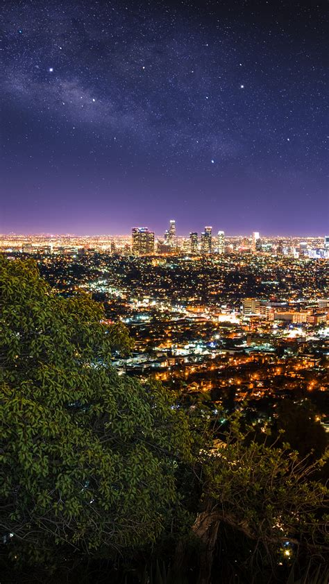 los angeles city  wallpaper cityscape city lights night time horizon starry sky green