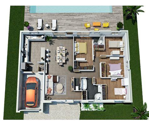plan maison plain pied 3 chambre modèle de maison villa galane