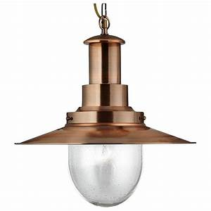 Large copper pendant lighting : Searchlight large copper fisherman s pendant light