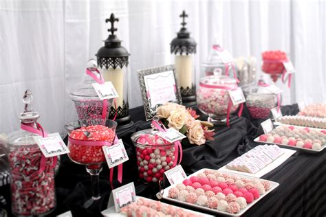 black and white candy table elegant black grey pink white candy dessert table