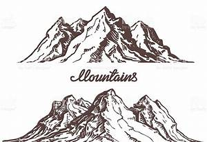 Mountains Sketch Hand Drawn Vector Illustration Stock ...