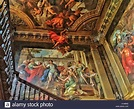 A view of the main staircase ceiling at Hanbury Hall, Worcestershire Stock Photo, Royalty Free ...