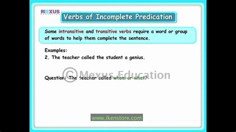 verbs of incomplete predication youtube