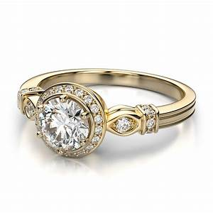 Yellow gold diamond wedding ring with vintage style ipunya for Vintage diamond wedding ring