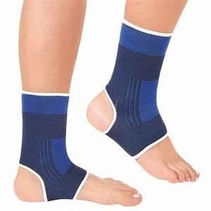 2pcs Ankle Foot Elastic Compression Wrap Sleeve Bandage ...