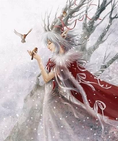 Fairy Snow Fairies Winter Fantasy Yule Birds