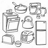 Kitchen Appliances Utensils Coloring Pages Illustration Stove Sketch Dryer Different Washer Depositphotos Club Tools Printable Illustrator Pdf Dishwasher Recipe Template sketch template