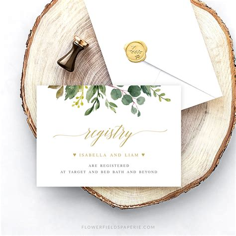 registry card editable template rustic greenery wedding