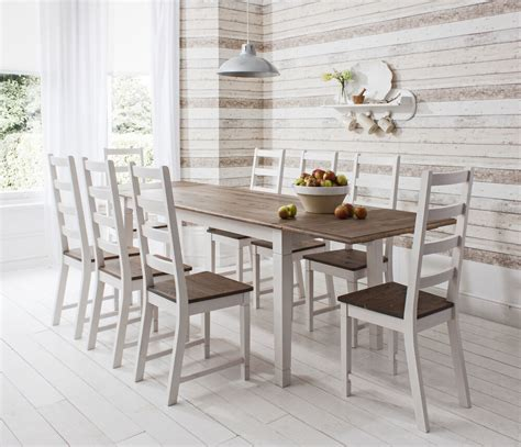dining table  chairs dark pine  white  extending