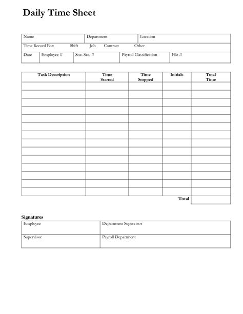 daily time sheet printable printable  degree