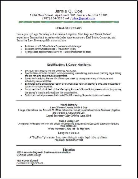 legal resume occupationalexamplessamples  edit