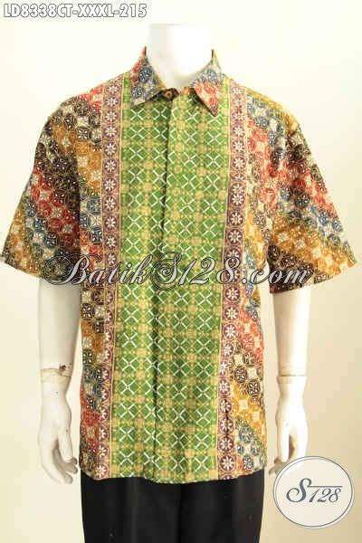 baju batik cowok elegan lengan pendek motif bagus banget proses cap tulis yang bikin pria gemuk