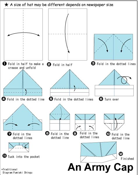 Origami Boat Written Instructions by Army Cap Paper Hat Origami Tutorial Crafts Party Hats