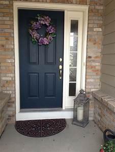 Plain Dark Front Door With One Side Window  Amanda Snelson