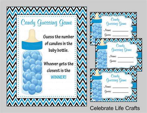 baby shower candy bottle  candy jar guessing game sign