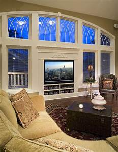 TV Wall Of Glass - Traditional - Living Room - Chicago ...
