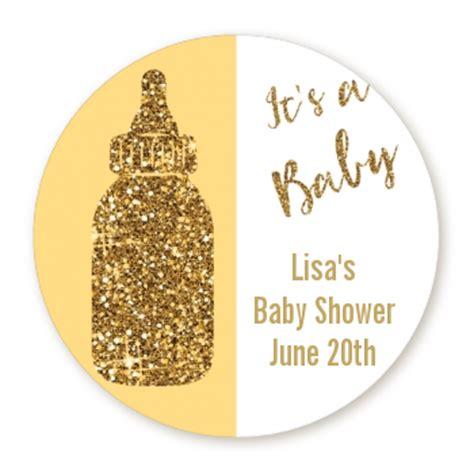 gold glitter baby bottle personalized sticker labels