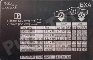 Jaguar F Type Tyre Pressure Placard Pure Tyre 01603 462959