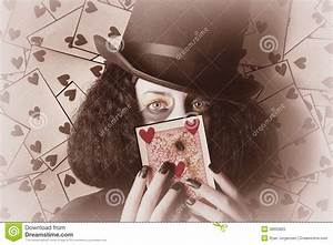Retro Magician Holding Burnt Playing Card Royalty Free ...