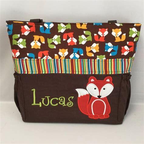 urban zoologie brown foxes diaper bag applique bottle pockets personalized