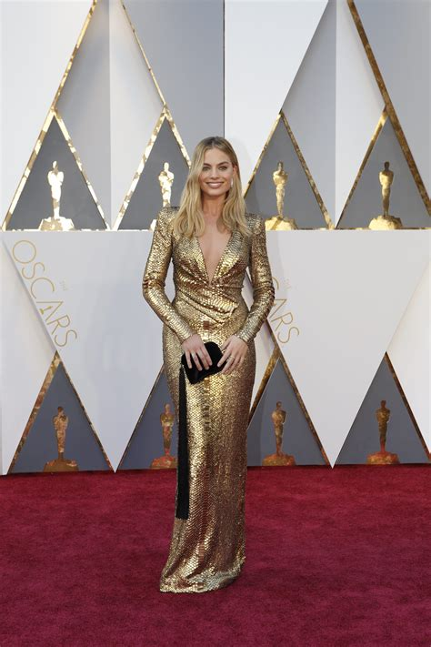 Margot Robbie Oscars Red Carpet Arrivals Academy