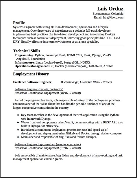 Best Resume Software Free by Freelance Software Engineer Resume This Is A Summary Of My