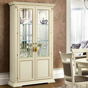 Treviso Ornate Ivory Ash Wood 2 Door Glass Display Cabinet