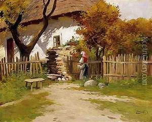 Village Scene oil painting reproduction by Gyula, Julius ...