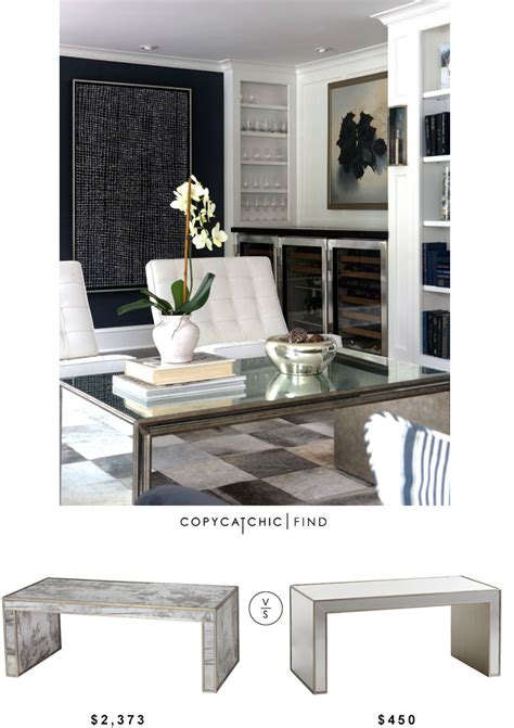 Copy Cat Chic Worlds Away Mirrored Parsons Coffee Table