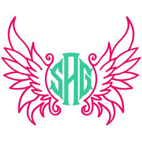 angel monogram svg cuttable frame
