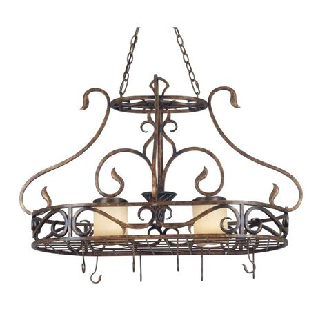 Copper Pot Rack With Lights by Kenroy Home Verona 2 Light Aged Copper Pot Rack With Hooks