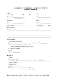Bloodborne Pathogens Exposure Incident Report Form by Incident Report Form For An Occupational Bloodborne
