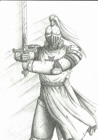 Knight Medieval Drawing Sketch Sketches Template Drawings