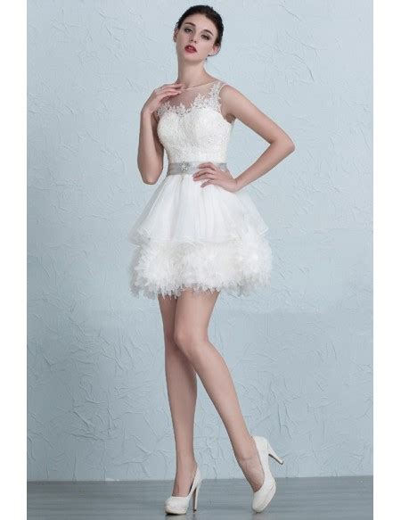 chic tutu short wedding dresses  puffy ivory high