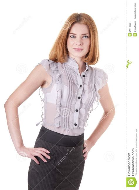 looking blouse self confident in blouse and skirt stock photo