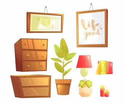 Cartoon Bedroom Furniture Interior Modern Illustration Vector