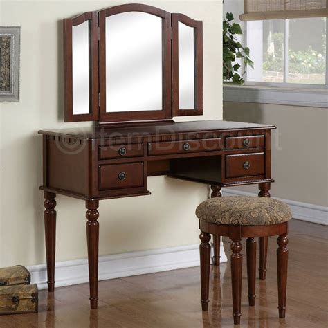 Makeup Vanity Table With Mirror And Bench - cherry wood tri fold vanity makeup mirror table set
