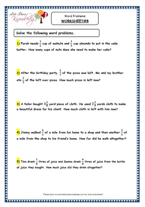 grade 4 maths resources 2 8 fraction word problems