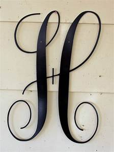 12 inch black script metal letter h door or wall hanging With metal letter h