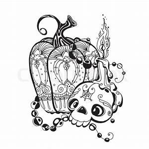 Kürbis Schwarz Weiß : schwarz wei illustration mit sch del k rbis und eine kerze auf einem wei en hintergrund ~ Orissabook.com Haus und Dekorationen