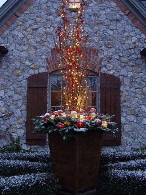 christmas planter  lighted branches christmas