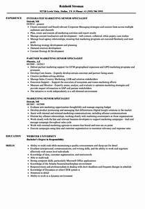Marketing Senior Specialist Resume Samples