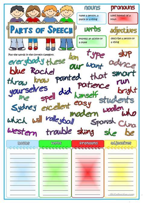 parts  speech nouns pronouns verbs adjectives