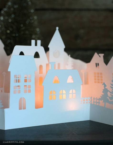 paper cut winter village   holiday decorations