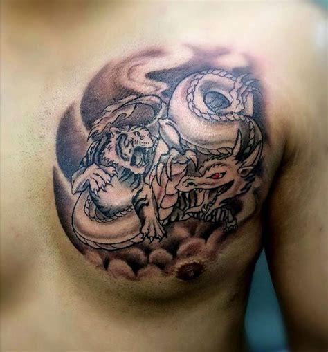 tiger dragon chest tattoo  tattoo design ideas
